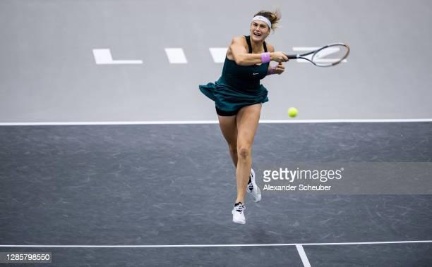 Aryna Sabalenka of Belarus in action during the finals of the Upper Austria Ladies Linz at TipsArena on November 15, 2020 in Linz, Austria.