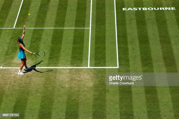 Aryna Sabalenka of Belarus in action during the women singles final against Caroline Wozniacki of Denmark during Day Nine of the Nature Valley...