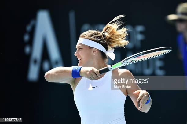 Aryna Sabalenka of Belarus in her match against SuWei Hsieh of Taiwan during day three of the 2020 Adelaide International at Memorial Drive on...