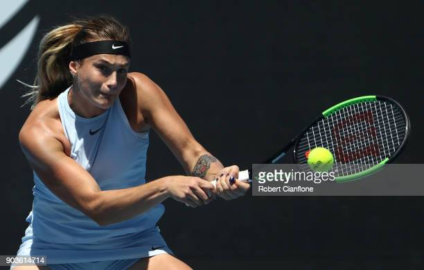 Aryna Sabalenka of Belarus plays a backhand during her singles match against Lesia Tsurenko of the Ukraine at the 2018 Hobart International at Domain...