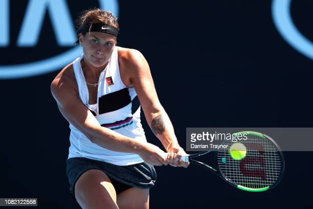 Aryna Sabalenka of Belarus plays a backhand in her first round match against Anna Kalinskaya of Russia during day one of the 2019 Australian Open at...
