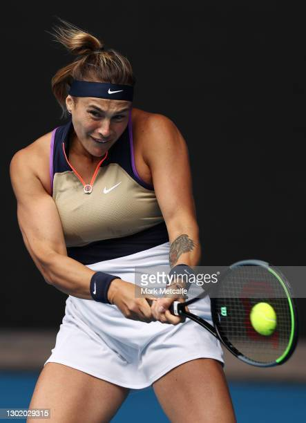 Aryna Sabalenka of Belarus plays a backhand in her Women's Singles fourth round match against Serena Williams of the United States during day seven...