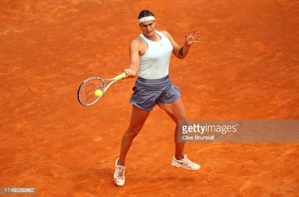 Aryna Sabalenka of Belarus plays a forehand against Alize Cornet of France in their first round match during day three of the International BNL...