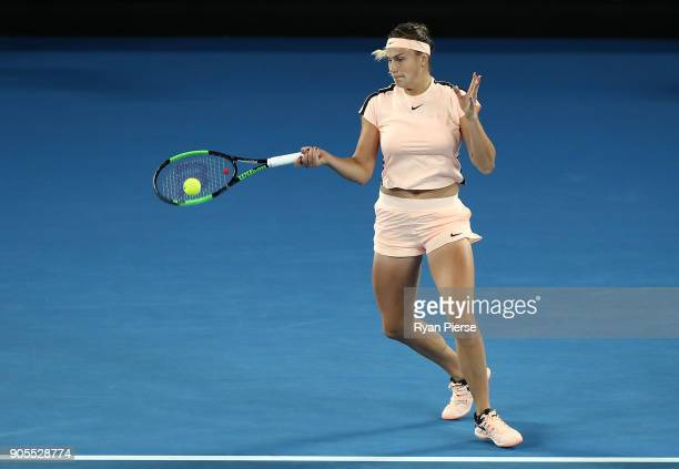 Aryna Sabalenka of Belarus plays a forehand during her first round match against Ashleigh Barty of Australia on day two of the 2018 Australian Open...