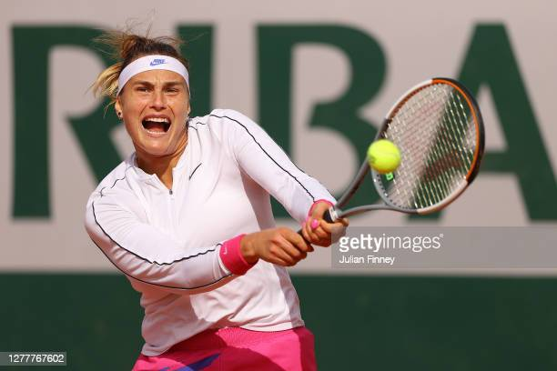 Aryna Sabalenka of Belarus plays a forehand during her Women's Singles second round match against Daria Kasatkina of Russia on day five of the 2020...