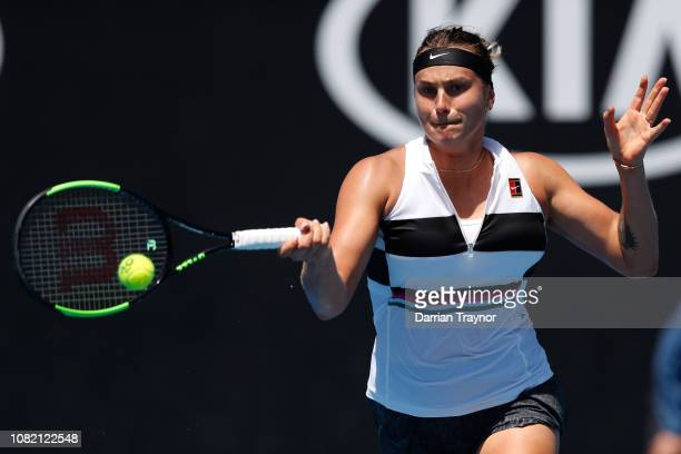 Aryna Sabalenka of Belarus plays a forehand in her first round match against Anna Kalinskaya of Russia during day one of the 2019 Australian Open at...