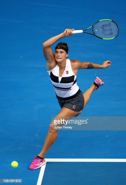 Aryna Sabalenka of Belarus plays a forehand in her third round match against Amanda Anisimova of the United States during day five of the 2019...