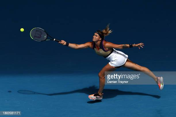 Aryna Sabalenka of Belarus plays a forehand in her Women's Singles fourth round match against Serena Williams of the United States during day seven...