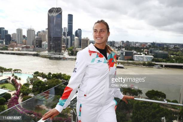 Aryna Sabalenka of Belarus poses during Official Fed Cup draw for the Fed Cup World Group Semi Final Australia v Belarus media opportunity at at...