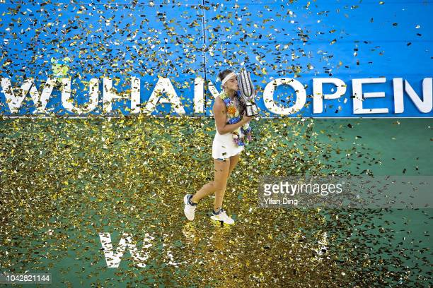 Aryna Sabalenka of Belarus poses for photo during victory ceremony after winning the singles final against Anett Kontaveit of Estonia on Day 9 of...