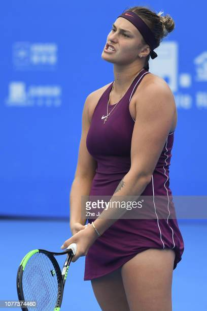 Aryna Sabalenka of Belarus reacts against Yafan Wang of China during the women's singles final match on main draw day 7 of the 2019 WTA Shenzhen Open...