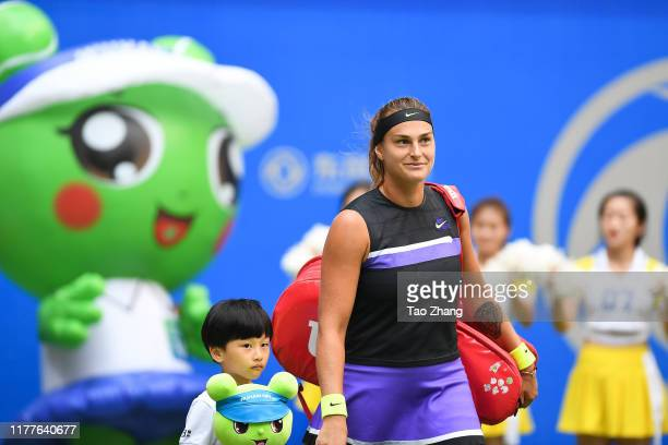 Aryna Sabalenka of Belarus reacts during during 2019 Wuhan Open singles final match against Alison Riske of the United Statesat Optics Valley...