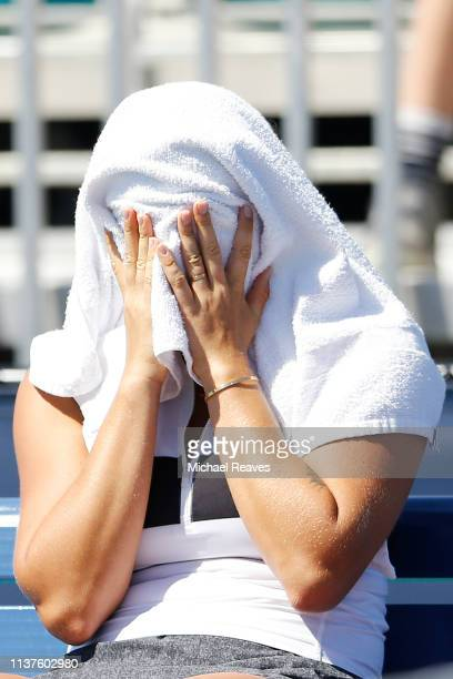 Aryna Sabalenka of Belarus reacts during her match against Ajla Tomljanovic of Australia during Day 5 of the Miami Open Presented by Itau at Hard...
