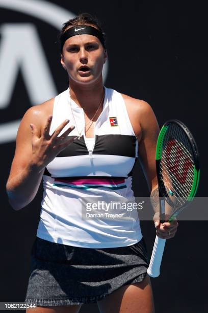 Aryna Sabalenka of Belarus reacts in her first round match against Anna Kalinskaya of Russia during day one of the 2019 Australian Open at Melbourne...