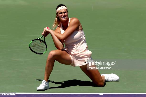 Aryna Sabalenka of Belarus reacts to a lost point against Petra Kvitova of Czech Republic during the Miami Open Presented by Itau at Crandon Park...
