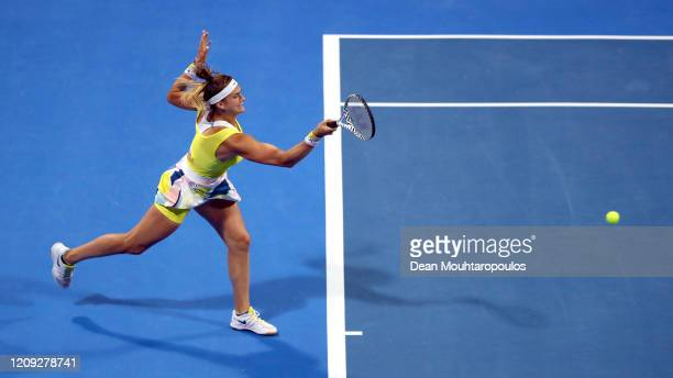 Aryna Sabalenka of Belarus returns a forehand against Svetlana Kuznetsova of Russia in their semi final match during Day 6 of the WTA Qatar Total...
