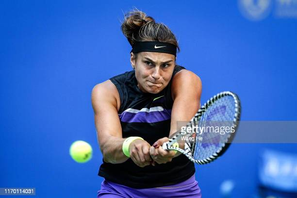 Aryna Sabalenka of Belarus returns a shot during the match against Aliaksandra Sasnovich of Belarus on Day 1 of 2019 Dongfeng Motor Wuhan Open at...