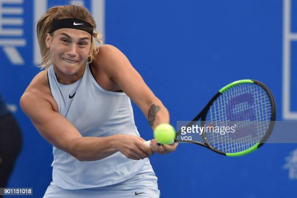Aryna Sabalenka of Belarus returns a shot during the quarterfinal match against Simona Halep of Romania on day 5 of 2018 WTA Shenzhen Open at...