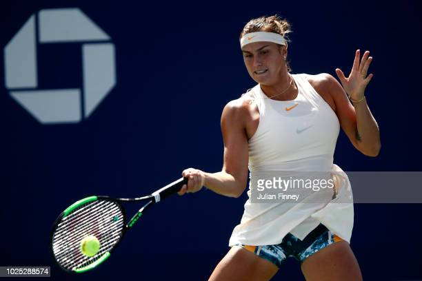 Aryna Sabalenka of Belarus returns the ball during her women's singles second round match against Vera Zvonareva of Russia on Day Four of the 2018 US...