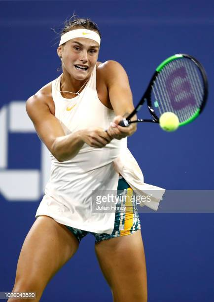 Aryna Sabalenka of Belarus returns the ball during her women's singles third round match against Petra Kvitova of Czech Republic on Day Six of the...