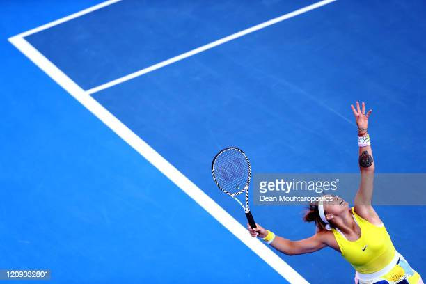 Aryna Sabalenka of Belarus serves against Zheng Saisai of China during Day 5 of the WTA Qatar Total Open 2020 at Khalifa International Tennis and...