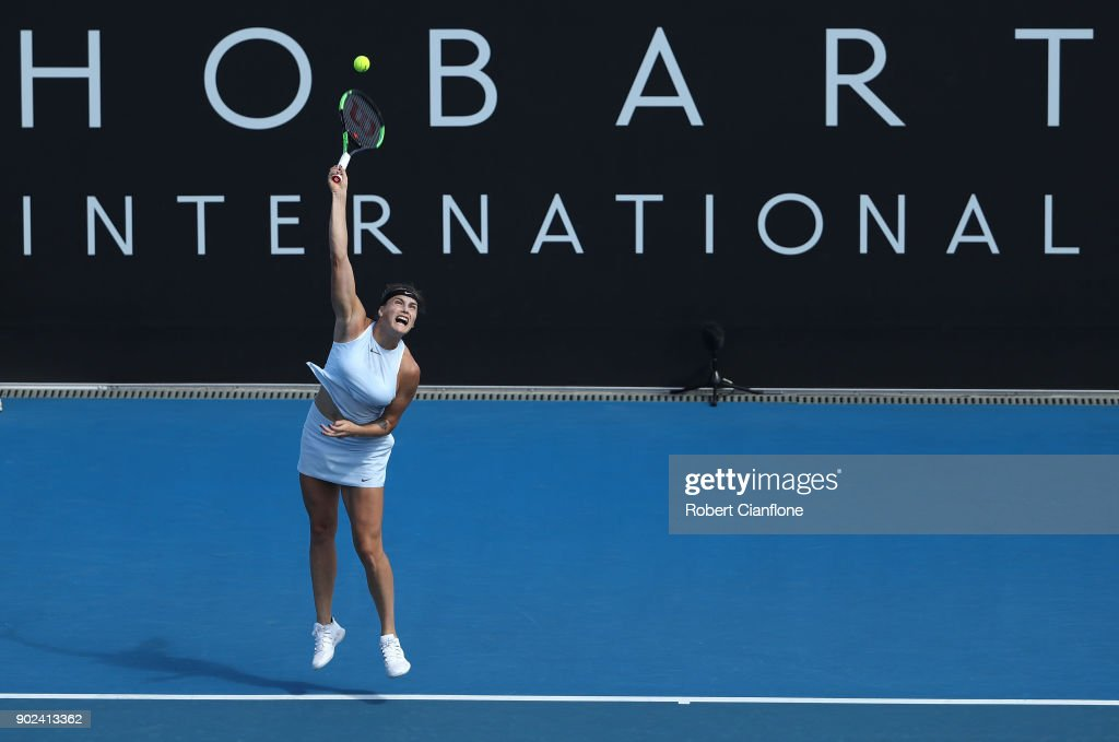 Aryna Sabalenka of Belarus serves during her singles match against Eugenie Bouchard of Canada during the 2018 Hobart International at Domain Tennis Centre on January 8, 2018 in Hobart, Australia.