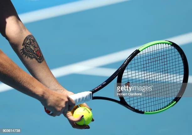 Aryna Sabalenka of Belarus serves during her singles match against Lesia Tsurenko of the Ukraine at the 2018 Hobart International at Domain Tennis...