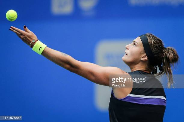 Aryna Sabalenka of Belarus serves during the Singles final against match against Alison Riske of USA on Day 7 of 2019 Dongfeng Motor Wuhan Open at...