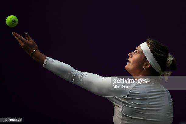 Aryna Sabalenka of Belarus serves during the singles quarter final match against Timea Bacsinszky of Switzerland on Day 5 of 2018 WTA Tianjin Open at...