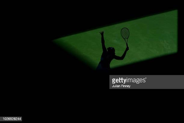 Aryna Sabalenka of Belarus serves during the women's singles fourth round match against Naomi Osaka of Japan on Day Eight of the 2018 US Open at the...