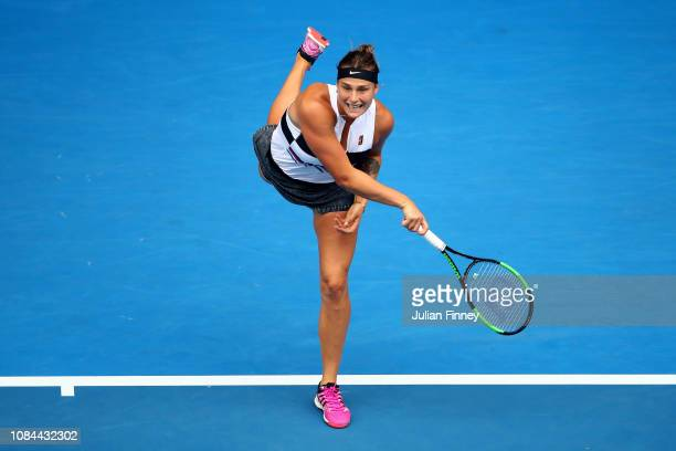 Aryna Sabalenka of Belarus serves in her third round match against Amanda Anisimova of the United States during day five of the 2019 Australian Open...