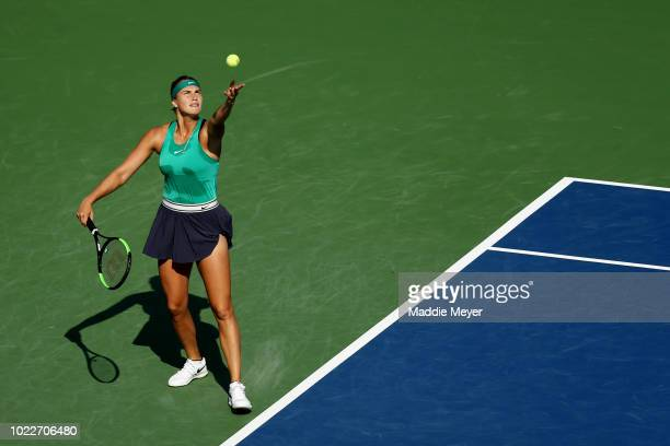 Aryna Sabalenka of Belarus serves to Julia Goerges of Germany during Day 5 of the Connecticut Open at Connecticut Tennis Center at Yale on August 24...