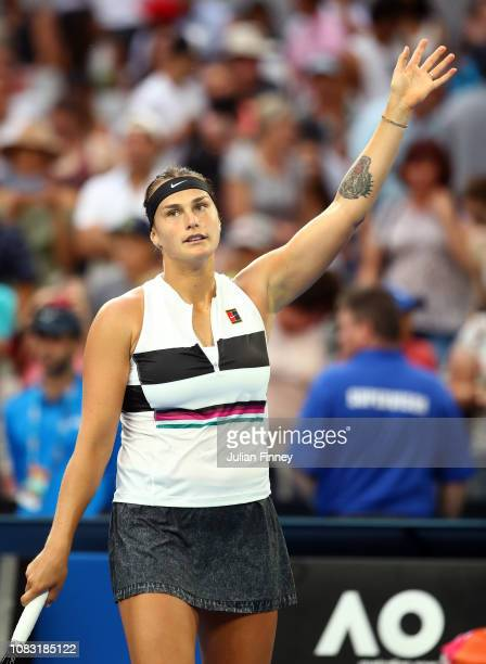 Aryna Sabalenka of Belarus waves to the crowd after victory in her second round match against Katie Boulter of Great Britain during day three of the...