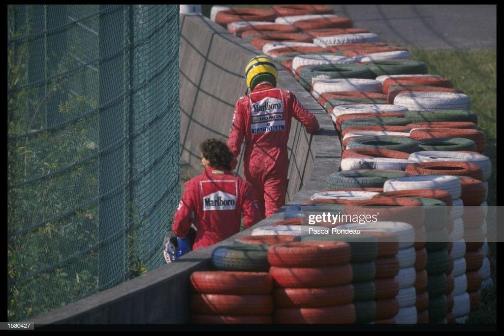 Aryton Senna of Brazil and Alain Prost : News Photo