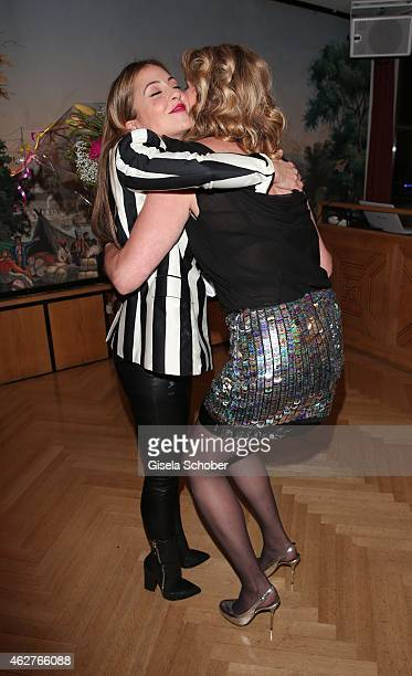 Arzu Bazman Maren Gilzer during the birthday celebration of Maren Gilzer's 55th birthday on February 4 2015 in Berlin Germany Welcome Home Show at...