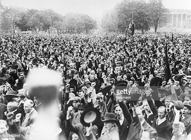 As a counter demonstration against a Mommoth Parade planned by the Hitler Fascists in Potsdam, Germany, thousands of Uhlan Communists staged a mass...