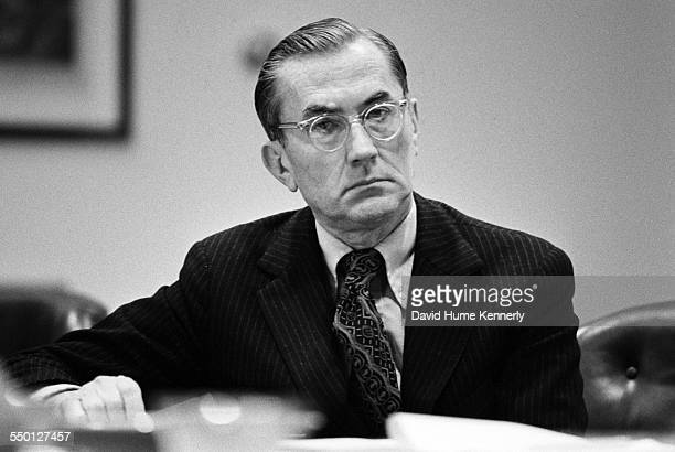 As a key member of the National Security Council CIA Director William Colby is part of the discussion at a meeting of the NSC in the Roosevelt Room...