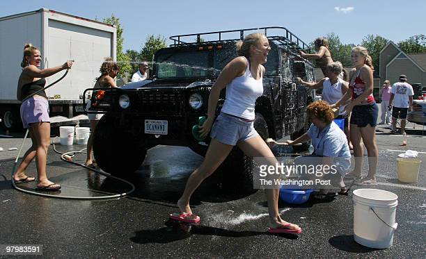 As a new school year and sports season begins the Forest Park High School Bruins girls volleyball team held a car wash to raise money for equipment...