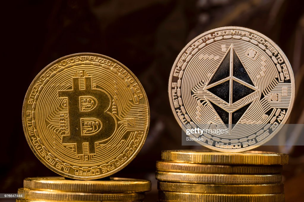 A visual representation of the digital Cryptocurrency : News Photo