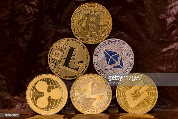 As a visual representation of the digital Cryptocurrency Litecoin Monero Bitcoin Ethereum Ripple and Dash on June 15 2018 in Hong Kong Hong Kong