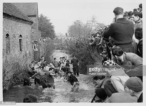 As an old Shrove Tuesday tradition men from Ashbourne play a football game where Henmore Brook makes up part of the pitch