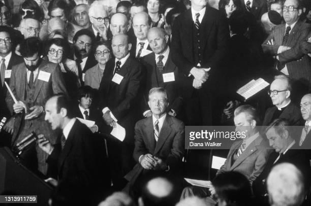 As author Elie Wiesel speaks, US President Jimmy Carter , Senate Majority Leader Robert Byrd , and Vice President Walter Mondale , among others,...