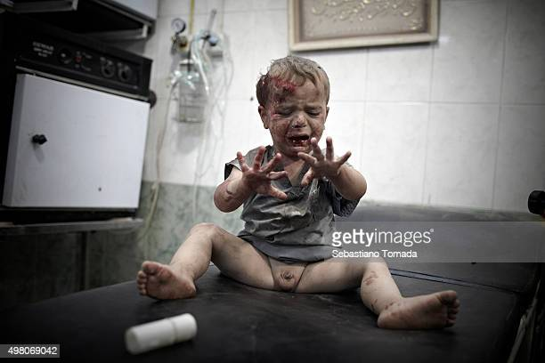 As Bahar Al Assad's army steps up its military campaign to regain control of Aleppo a severely wounded baby awaits to be medically treated by the...