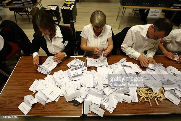As ballot boxes arrive and polling stations close, the counting of votes by hand gets underway at Nantwich Civic Hall in the Nantwich and Crewe...