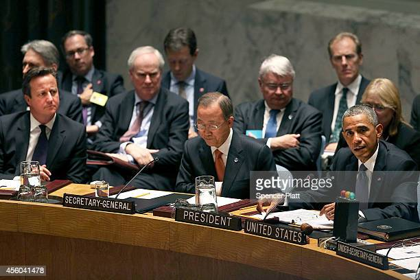As British Prime Minister David Cameron and United Nations SecretaryGeneral Ban Kimoon watches President Barack Obama chairs a Security Council...