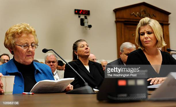 As Carol Labato testifies Sarah Lewis from California listens to her fellow salmonella victim's testimony Testifying before the House Energy and...