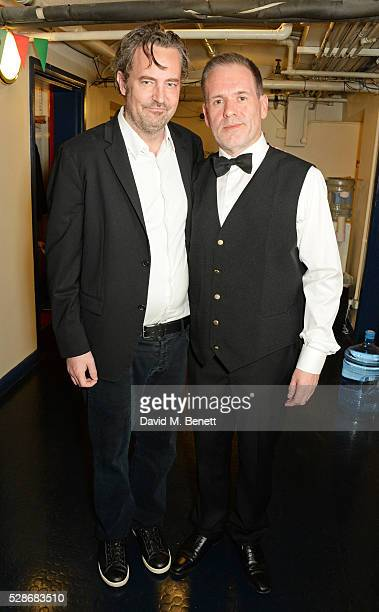 as Chris Moyles poses backstage with actor and playwright Matthew Perry after joining the cast of Matthew Perry's The End Of Longing in the role of...