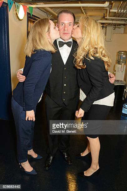 as Chris Moyles poses backstage with cast members Christina Cole and Jennifer Mudge after joining the cast of Matthew Perry's The End Of Longing in...
