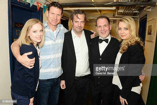 as Chris Moyles poses backstage with cast members Christina Cole Lloyd Owen Matthew Perry and Jennifer Mudge after joining the cast of Matthew...