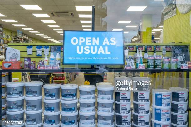 As Covid restrictions continue in England, a DIY decorating business remains open as usual in Clapham High Street during the third lockdown of the...